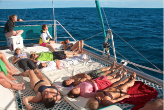 Resting on the boat in Bimini